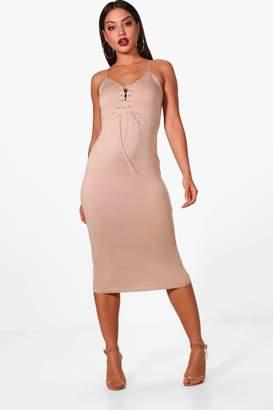 boohoo Lace Up Plunge Eyelet Midi Dress