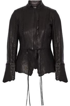 Roberto Cavalli Asymmetric Whipstitched Brushed-Leather Jacket
