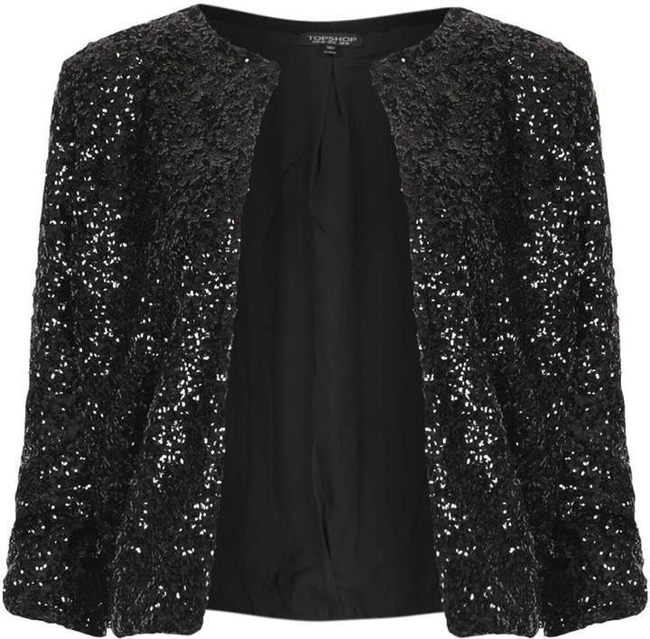 Topshop Knitted Sequin Bomber Cardi