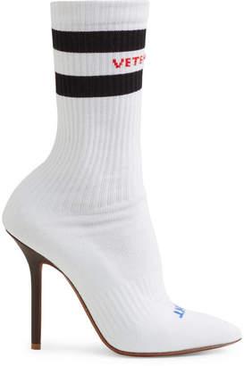 Vetements Logo-jacquard Stretch-knit Sock Boots - White
