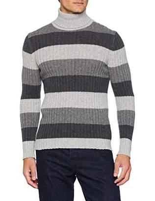 Benetton Men's Turtle Neck Sweater Sweatshirt, (Black 100), (Size: EL)