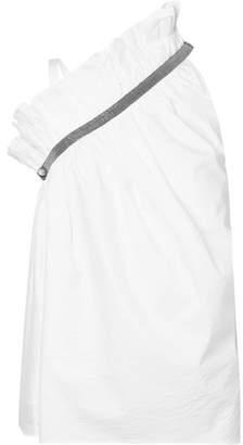 Brunello Cucinelli One-shoulder Embellished Cotton-blend Poplin Top