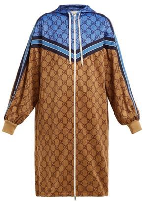 Gucci Gg Technical Jersey Hooded Dress - Womens - Beige Multi