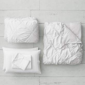 Pottery Barn Teen Organic Ruched Diamond Duvet Bundle, Queen, White