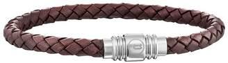 Mens Brown Leather Weave Magnetic Bracelet