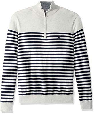 Nautica Men's Big and Tall Half-Zip Mock Neck Breton Sweater