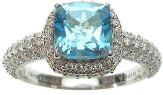 Judith Ripka Sterling and Blue Topaz with Diamonique Ring