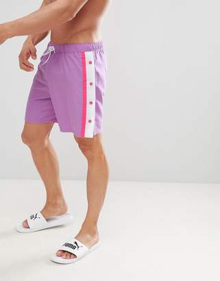 Asos Design DESIGN Swim Shorts In Lilac & Pink With Popper Detail In Mid Length