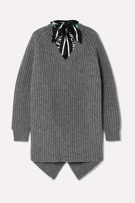 Balenciaga Satin Twill-trimmed Ribbed Wool Sweater - Gray
