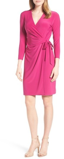 Anne Klein Women's Anne Klein Stretch Jersey Faux Wrap Dress