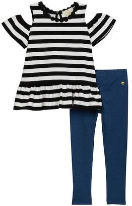 Kate Spade Cold-Shoulder Stripe Tunic & Leggings Set (Toddler & Little Girls)