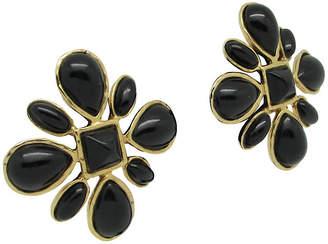 One Kings Lane Vintage Les Benard Black Flower Earrings - Thanks for the Memories