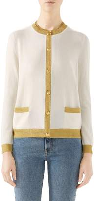 Gucci Metallic Trim Cashmere & Silk Cardigan