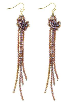 Panacea Crystal Knot Tassel Earrings