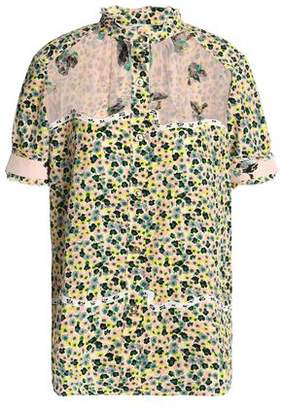 Coach Voile-Paneled Floral-Print Silk-Georgette Shirt
