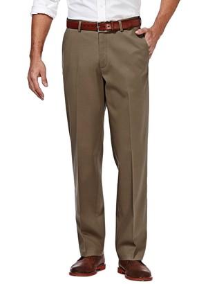 Haggar Mens Premium No-Iron Khaki Super Flex Waist Straight-Fit Stretch Flat-Front Pants