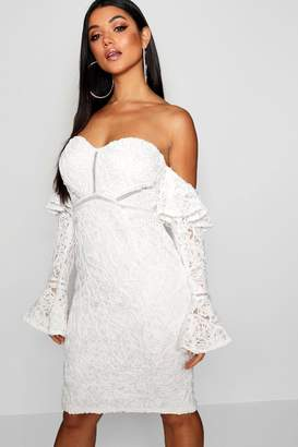boohoo Lace Off the Shoulder Frill Detail Midi Dress