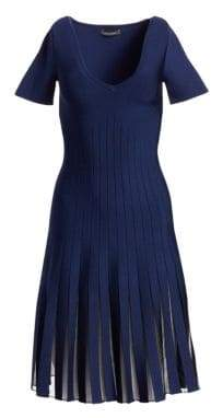 Zac Posen Knit Sheer Pleated V-Neck Dress