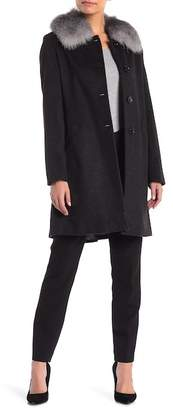Sofia Cashmere Genuine Fox Fur Trim Car Coat
