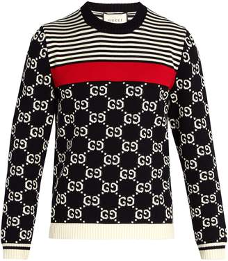 Gucci GG-intarsia and stripe crew-neck sweater