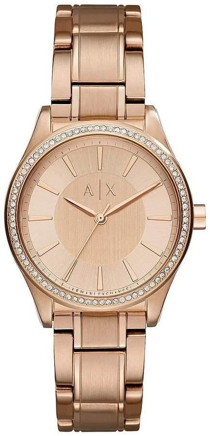 Armani Exchange Rose Tone Dial Rose Tone Bracelet Ladies Watch