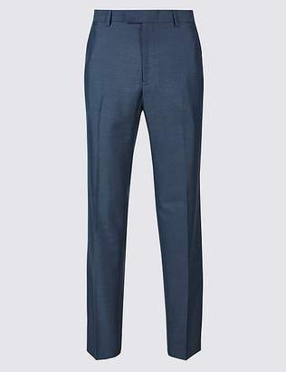 Marks and Spencer Blue Textured Tailored Fit Trousers