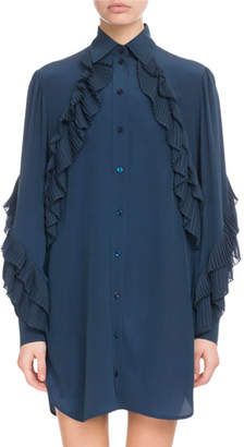 Givenchy Button-Front Long-Sleeve Silk Tunic Dress w/ Pleated Ruffles