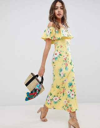 Asos Design Bardot Fit And Flare Maxi In Tropical Print