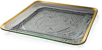 Annieglass Roman Antique Platinum Large Square Tray