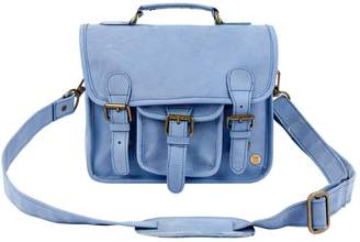 Mahi Leather Mini Pastel Blue Suede Harvard Satchel Messenger Handbag