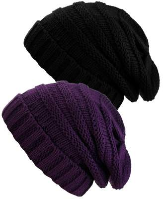 acc0abd46bb NYFASHION101 Oversized Baggy Slouchy Thick Winter Beanie Hat - 2 Pack