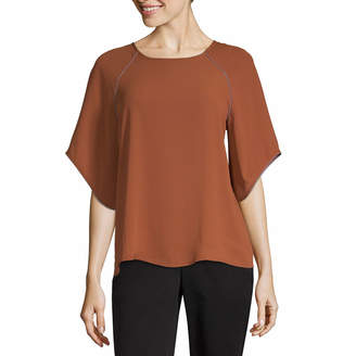 WORTHINGTON Worthington 3/4 Raglan Flutter Sleeve Top - Tall
