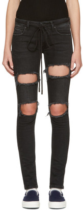Off-White Black Diagonal Ripped Skinny Jeans $590 thestylecure.com