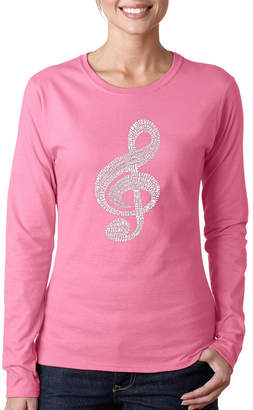 LOS ANGELES POP ART Los Angeles Pop Art Women's Long Sleeve Word Art T-Shirt -Music Note