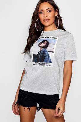 boohoo Metallic Girl Face T-Shirt
