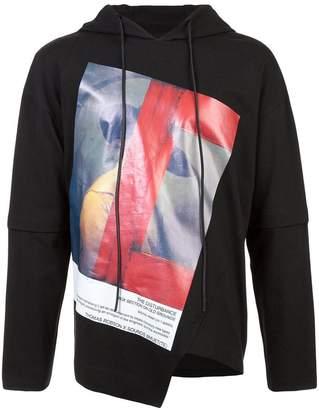 Bmuet(Te) asymmetric graphic print hoodie