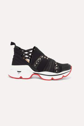 1da329b98c70 Christian Louboutin 123 Run Paneled Embellished Neoprene Sneakers - Black