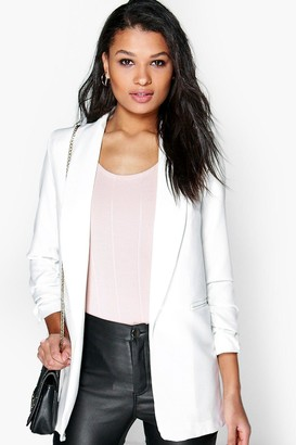 boohoo Blythe Ruched Sleeve Blazer $50 thestylecure.com