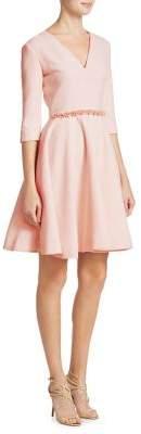 Lanvin V-Neck Embroidered Dress