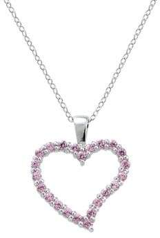 Lord & Taylor Sterling Silver and Cubic Zirconia Heart Pendant Necklace