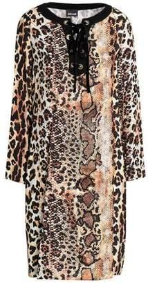 Just Cavalli Lace-Up Printed Crepe Mini Dress