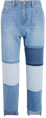 Sjyp Patchwork Cropped High-rise Straight-leg Jeans - Light denim
