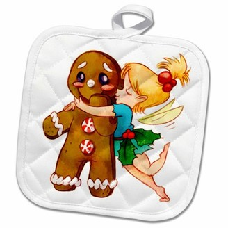 3dRose Cute Fairy Kissing Gingerbread Man - Pot Holder, 8 by 8-inch
