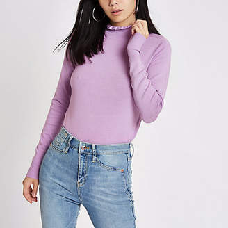 River Island Purple frill high neck long sleeve turtleneck