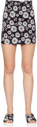 Au Jour Le Jour Daisy Printed Techno Duchesse Mini Skirt