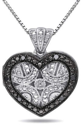 Black Diamond CONCERTO .06 CT and Sterling Silver Locket Heart Necklace