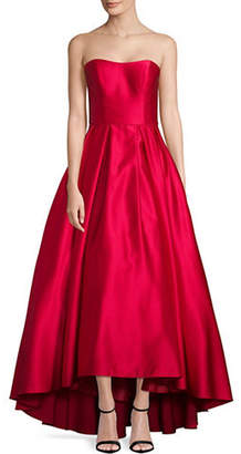 Betsy & Adam Strapless Satin Gown
