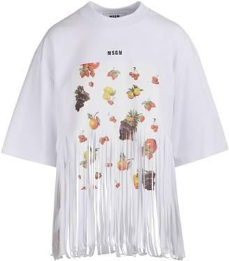 MSGM Fringed fruit print T-shirt