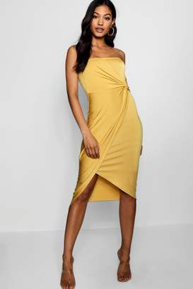 boohoo Bandeau Twist Wrap Detail Midi Dress