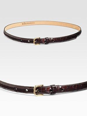 W. Kleinberg Skinny Patent Faux Croc Belt